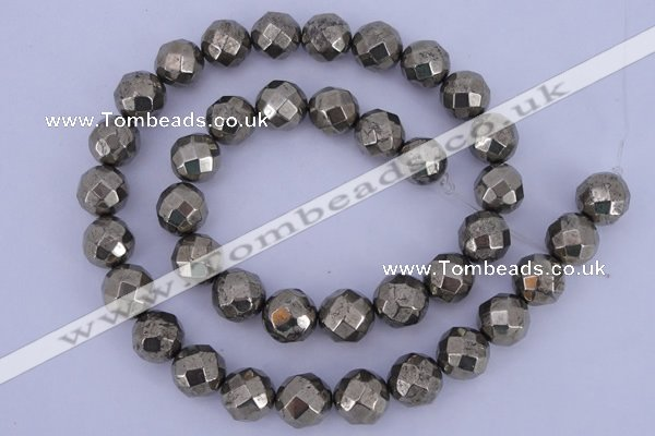 CPY31 16 inches 12mm faceted round pyrite gemstone beads wholesale
