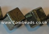 CPY365 15.5 inches 16*16mm faceted cube pyrite gemstone beads