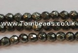 CPY49 16 inches 4mm faceted round pyrite gemstone beads wholesale