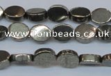 CPY640 15.5 inches 6*8mm oval pyrite gemstone beads wholesale
