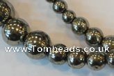 CPY74 15.5 inches 4mm - 18mm round pyrite gemstone beads wholesale