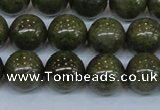 CPY755 15.5 inches 14mm round pyrite gemstone beads wholesale