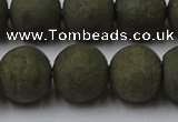 CPY818 15.5 inches 14mm round matte pyrite beads wholesale