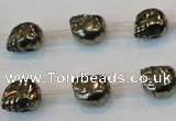 CPY84 15.5 inches 10mm carved skull pyrite gemstone beads wholesale