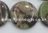 CRA14 15.5 inches 30mm flat round natural rainforest agate beads