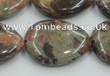 CRA20 15.5 inches 22*30mm flat teardrop natural rainforest agate beads