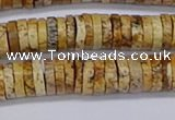 CRB1018 15.5 inches 2*7mm heishi picture jasper beads wholesale