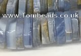CRB1080 15.5 inches 5*20mm - 6*22mm faceted heishi blue chalcedony beads