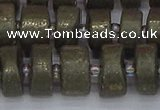 CRB1262 15.5 inches 7*14mm tyre matte pyrite gemstone beads