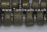 CRB1263 15.5 inches 8*16mm tyre matte pyrite gemstone beads