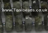 CRB1302 15.5 inches 6*12mm faceted rondelle labradorite beads