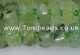 CRB1352 15.5 inches 6*12mm faceted rondelle green rutilated quartz beads