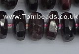 CRB1413 15.5 inches 7*14mm faceted rondelle red garnet beads