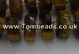 CRB1432 15.5 inches 6*12mm faceted rondelle yellow tiger eye beads