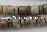 CRB144 15.5 inches 6*12mm & 10*12mm rondelle chrysanthemum agate beads