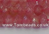 CRB1802 15.5 inches 6*10mm faceted rondelle strawberry quartz beads