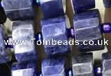CRB2136 15.5 inches 9mm - 10mm faceted tyre sodalite gemstone beads