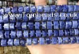 CRB2176 15.5 inches 11mm - 12mm faceted tyre sodalite beads