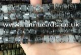 CRB2192 15.5 inches 10mm - 11mm faceted tyre black rutilated quartz beads
