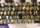 CRB2198 15.5 inches 11mm - 12mm faceted tyre yellow tiger eye beads