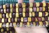 CRB2202 15.5 inches 10mm - 11mm faceted tyre mookaite beads