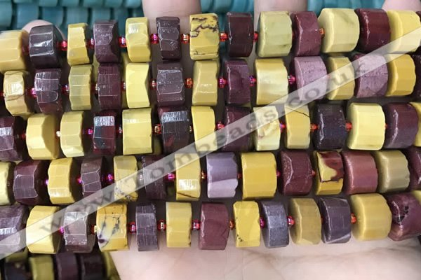 CRB2204 15.5 inches 13mm - 14mm faceted tyre mookaite beads