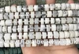 CRB2206 15.5 inches 8mm - 9mm faceted tyre white opal beads