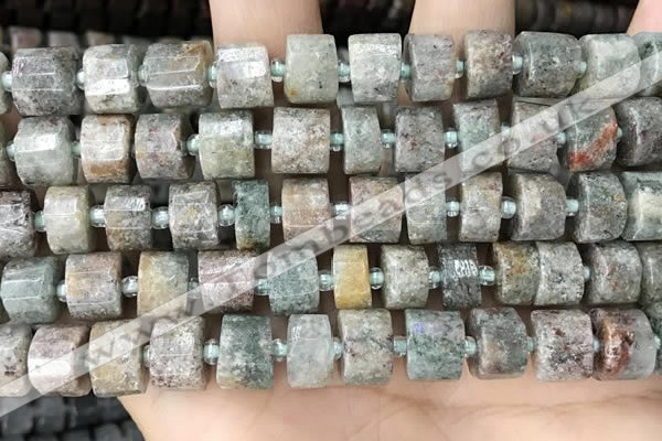 CRB2302 15.5 inches 10mm - 11mm faceted tyre ghost gemstone beads