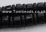 CRB254 15.5 inches 5*14mm - 10*14mm rondelle black agate beads