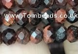 CRB3042 15.5 inches 4*6mm faceted rondelle red tiger eye beads