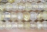 CRB3148 2.5*4mm faceted rondelle tiny golden rutilated quartz beads