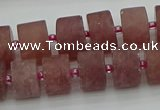 CRB480 15.5 inches 8*14mm tyre strawberry quartz beads wholesale