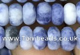 CRB5007 15.5 inches 4*6mm rondelle matte blue spot stone beads