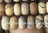 CRB5011 15.5 inches 4*6mm rondelle matte picture jasper beads