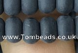 CRB5066 15.5 inches 5*8mm rondelle matte black agate beads wholesale