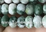 CRB5108 15.5 inches 4*6mm faceted rondelle green spot stone beads