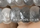 CRB5152 15.5 inches 5*8mm faceted rondelle cloudy quartz beads