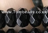 CRB5161 15.5 inches 5*8mm faceted rondelle black agate beads