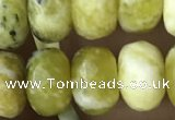 CRB5165 15.5 inches 5*8mm faceted rondelle yellow pine turquoise beads