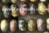 CRB5305 15.5 inches 4*6mm rondelle leopard skin jasper beads wholesale