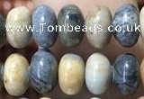CRB5308 15.5 inches 4*6mm rondelle black picasso jasper beads