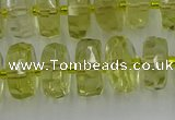 CRB573 15.5 inches 6*10mm faceted rondelle lemon quartz beads
