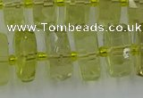 CRB577 15.5 inches 8*18mm faceted rondelle lemon quartz beads