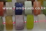 CRB682 15.5 inches 7*14mm tyre matte mixed gemstone beads