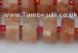 CRB820 15.5 inches 8*14mm faceted rondelle orange moonstone beads