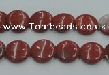 CRE06 16 inches 12mm flat round natural red jasper beads wholesale