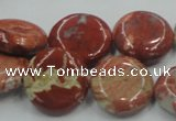 CRE08 16 inches 20mm flat round natural red jasper beads wholesale