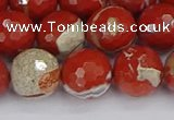 CRE334 15.5 inches 12mm faceted round red jasper beads