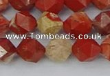 CRE347 15.5 inches 10mm faceted nuggets red jasper beads
