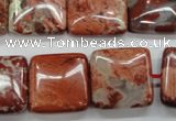 CRE58 15.5 inches 20*20mm square red jasper beads wholesale